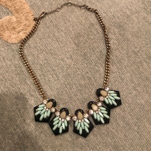Black and teal statement necklace